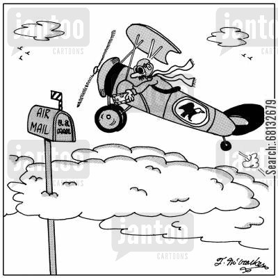 global community cartoon humor: A pilot leaning out of an airplane putting mail in a box high in the sky labeled, 'Air Mail Box.'