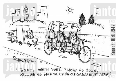 corporate jet cartoon humor: 'Boss, when fuel prices go down, can we go back to using our corporate jet again?'