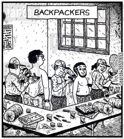 packing cartoon humor: Backpackers (workers packing products into peoples' backs).