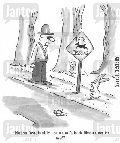 anthropamorphic cartoon humor: Crossing Guard to rabbit at Deer Crossing: 'Not so fast, buddy - you don't look like a deer to me!'