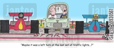 motorsports cartoon humor: 'Maybe it was a left turn at the last set of traffic lights...?'
