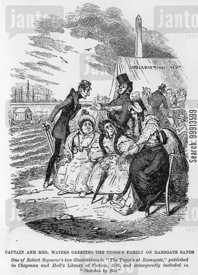 bathing cartoon humor: Captain and Mrs Waters greeting the Tuggs family on Ramsgate Sands