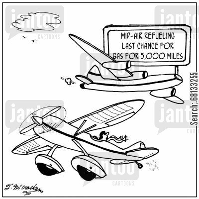 aerial refuelling cartoon humor: Mid air refuelling--last chance for gas for 5,000 miles.