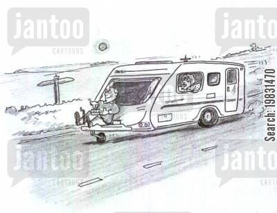 british holidays cartoon humor: 'I thought the 'remote control gizmo' was just for manoeuvering the caravan!'