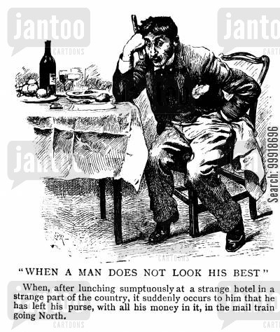 victorian hotels cartoon humor: 'When A Man Does Not Look His Best'
