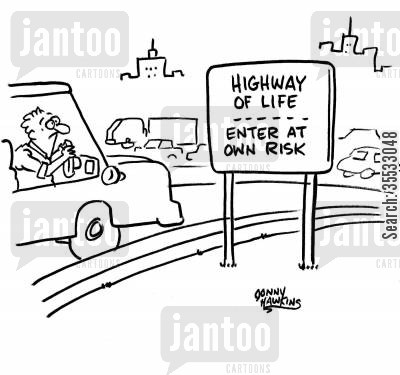 highway signs cartoon humor: Driver sees road sign: 'Highway of Life ... Enter at Own Risk.'