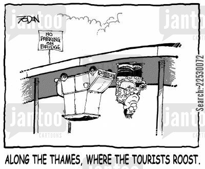 thames cartoon humor: Along the Thames, Where the Tourists Roost