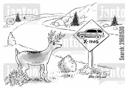 roadsign cartoon humor: Cars crossing sign for deer.