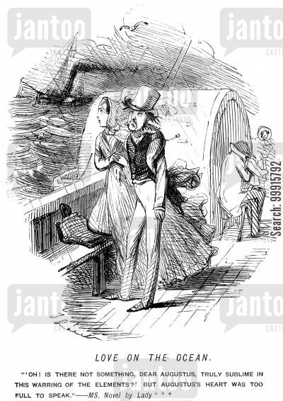 seasickness cartoon humor: A sentimental woman talking to her lover on a ship