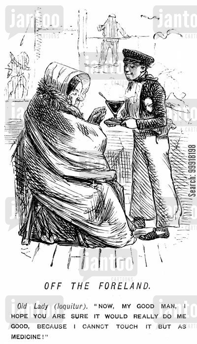 seasickness cartoon humor: Sailor offering lady a drink which she will only accept as medicine,