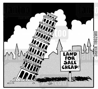 leaning tower of pisa cartoon humor: Land for sale cheap!