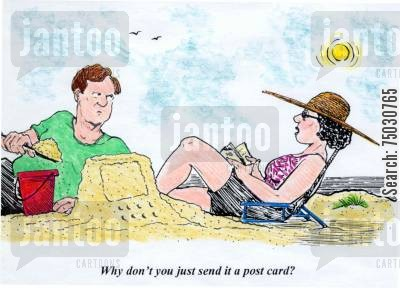 seasides cartoon humor: 'Why don't you just send it a post card?'