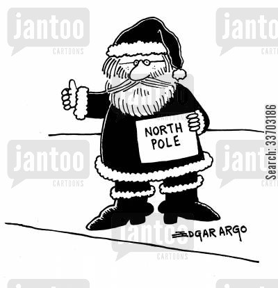hitchhiking cartoon humor: North Pole.