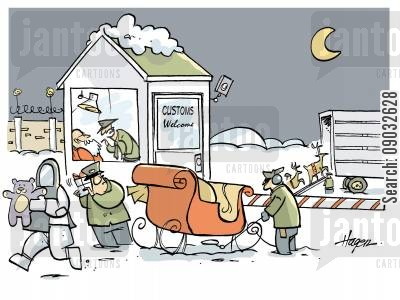 reindeer cartoon humor: Santa being interrogated by Customs.