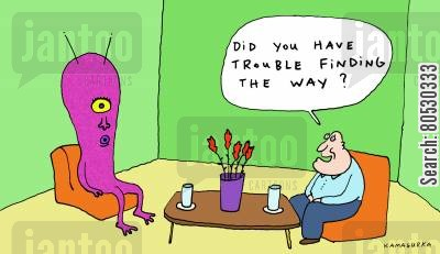 flying saucers cartoon humor: 'Did you have trouble finding the way?'
