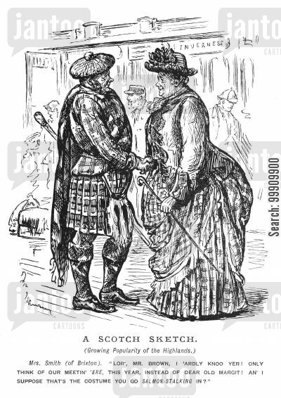 tartan clothes cartoon humor: People Holidaying in the Highlands