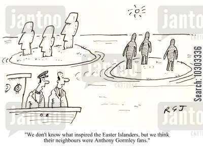 anthony gormley cartoon humor: 'We don't know what inspired the Easter Islanders, but we think their neighbours were Anthony Gormley fans.'