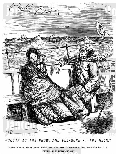 trips cartoon humor: Young honeymoon couple seasick on a channel crossing.