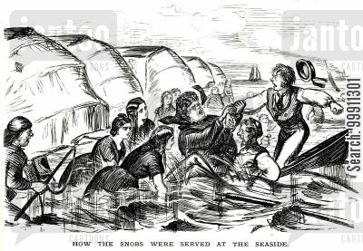 bathing machine cartoon humor: Snobs at the Seaside, Pt. 2