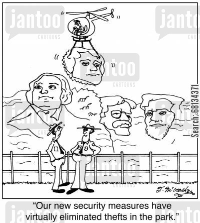 roosevelt cartoon humor: 'Our new security measures have virtually eliminated thefts in the park.'