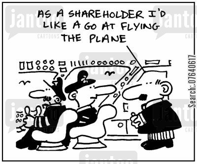 piloting cartoon humor: 'As a shareholder I'd like a go at flying the plane.'