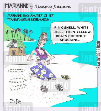 hawaii cartoon humor: 'Pink shell, white shell, then yellow, Beats coconut shucking,'