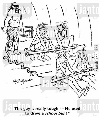 rowers cartoon humor: 'This guy is really tough - He used to drive a school bus!'