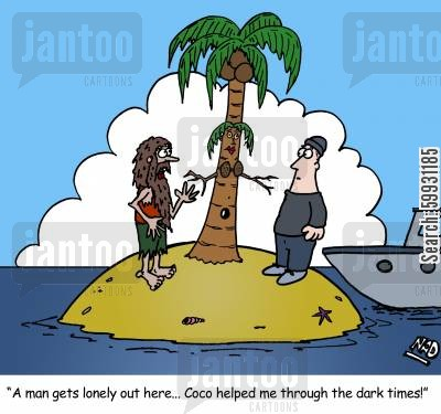 imaginary friend cartoon humor: 'A man gets lonely out here... Coco helped me through the dark times!'