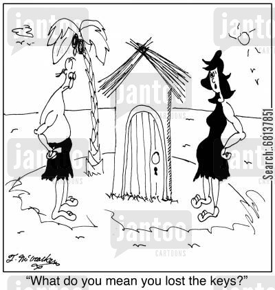 thatched huts cartoon humor: 'What do you mean you lost the keys?'