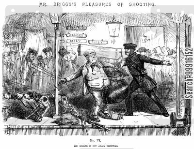 train station cartoon humor: Mr Briggs's Pleasures of Shooting - No. VI