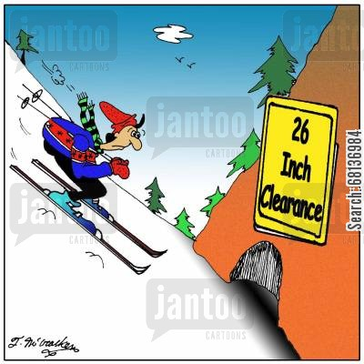 skiing accident cartoon humor: 26 Inch Clearance.