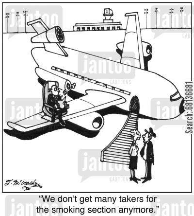 stewardesses cartoon humor: 'We don't get many takers for the smoking section anymore.'