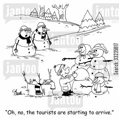 tourist season cartoon humor: 'Oh, no, the tourists are starting to arrive.'
