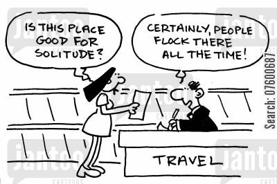 mass tourism cartoon humor: Travel agent
