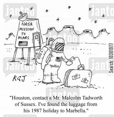 mars landing cartoon humor: Lost luggage turning up on Mars.