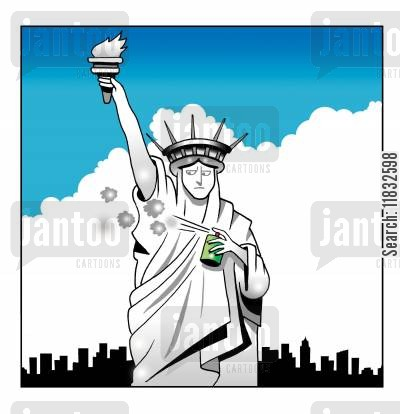 on the nose cartoon humor: Liberty deodorant.