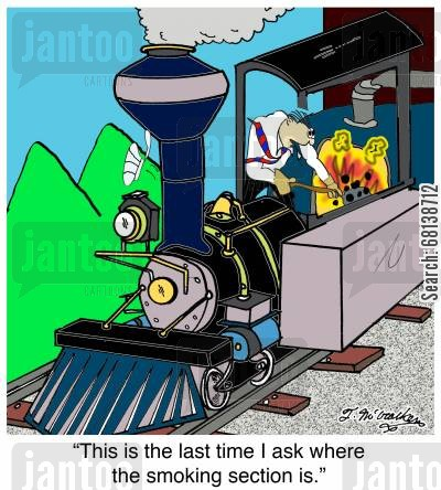 smoking section cartoon humor: 'This is the last time I ask where the smoking section is.'