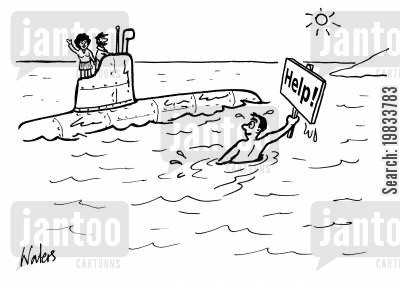 rescue services cartoon humor: Man asks for Help from a submarine.