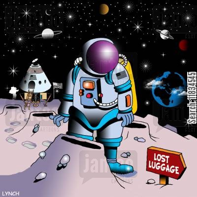 space shuttle cartoon humor: Astronaut notices sign on alien planet for lost luggage.