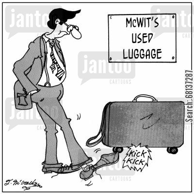 secondhand shops cartoon humor: A man kicking the wheels on a suitcase at 'McWit's Used Luggage.'