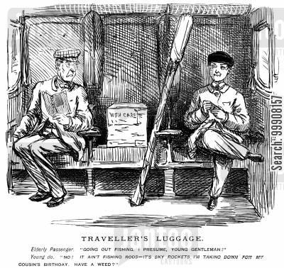 train travel cartoon humor: Traveller's Luggage.