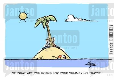 silly questions cartoon humor: 'So what are you doing for your summer holidays?'