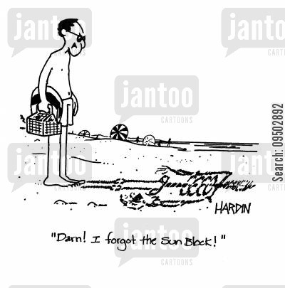 sun bathers cartoon humor: 'Darn! I forgot the sun block!'
