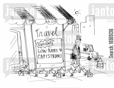 last minute flights cartoon humor: Travel: Special low rates to Capistrano