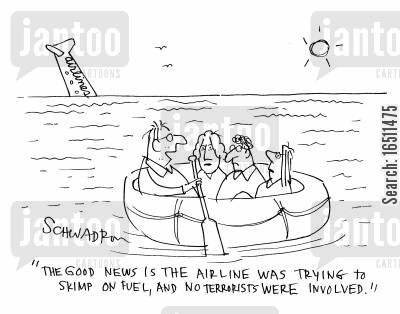 plane travel cartoon humor: 'The good news is the airline was trying to skimp on fuel, and no terrorists were involved.'t