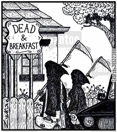 bed and breakfast cartoon humor: Dead & Breakfast.