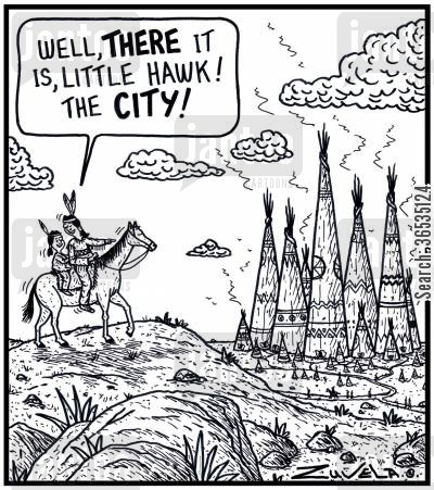 skyscrapers cartoon humor: 'Well, there it is, Little Hawk! The City!'