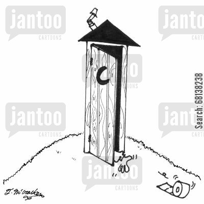 loo roll cartoon humor: A hand frantically reaches for toilet paper that's rolling out of an outhouse.