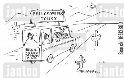 honking cartoon humor: Philosopher's Tours - Honk If You Know the Meaning of Life.