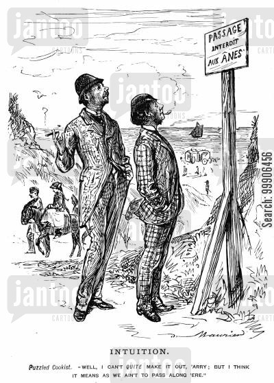 language barriers cartoon humor: Two tourists inspecting a French sign